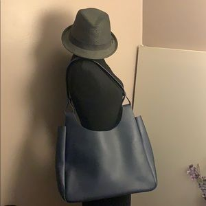 Neiman Marcus Midnight Blue Vegan Leather Tote